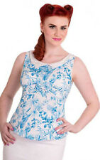HELL BUNNY VIXEN Danielle blue and white sleeveless top  Retro pinup 50s gothic