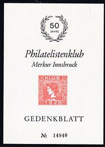 50 Jahre Philatelistenclub Merkur Innsbruck Limitiert auf 20.000 Stück