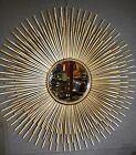 Glace / Miroir soleil à 3 niveaux de rayons doré patiné