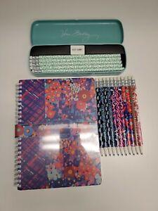 VERA BRADLEY Mini Notebook w/ pocket, Mech Pencils, & Pencil Set Tin