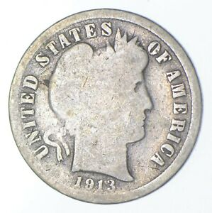 Rare - Key Date 1913-S Barber Liberty Silver Dime - Low Mintage *384