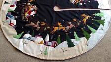 "59.5"" Hand made Wool SANTA SLEIGH REINDEER Scene CHRISTMAS TREE SKIRT"