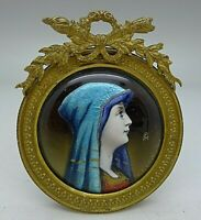 Camille Faure Limoges Enamel Signed Hand Painted Woman & Ormolu Frame RARE c1900