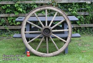 Vintage old wooden cart wagon wheel  / 107 cm / 57 kg