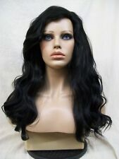 Black Sultry Siren Wig Wicked Witch Sorceress Gypsy Lady Morticia Addams Mermaid