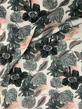 5 Metres Grey Retro Leaf Leaves Printed 100% Cotton Poplin Fabric