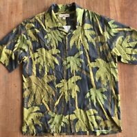 Tommy Bahama Hawaiian Shirt Silk Mens Large Green Palm Tree Floral Aloha