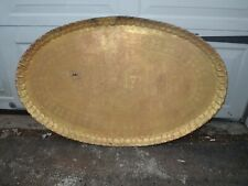 Antique Egyptian Bronze Table Top Oval Tray Etched Pharaoh 42x26 Large Figural