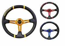 Momo 350mm deep dish RED/BLUE/GOLD steering wheel racing sports PVC drifting