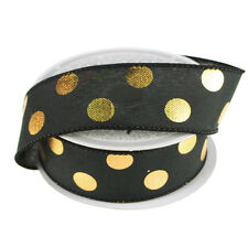 Metallic Dots Wired Canvas Ribbon, 1-1/2-Inch, 10 Yards