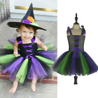 Girls Witch Costume Vampire Child Halloween Tutu Fancy Dress Outfit Toddler Kids