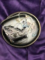 Japanese Flying Dragon Tea Cup Saucer hand painted Japan UNIQUE