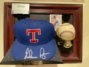 Nolan Ryan Texas Rangers Autographed Hat and Baseball w/Display Case