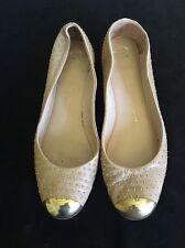 GIUSEPPI ZANOTTI Tan Studded ballet Flat w gold Toe Cap sz 41- US 10.5-11
