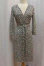 Diane von Furstenberg Vintage DVF Julian Black White Silk Wrap Dress 10 M