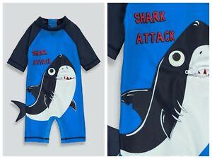 Boys BNWT  UPF 50+  3D Shark Swim Surf Suit Matalan 12 - 18 months (ST57)