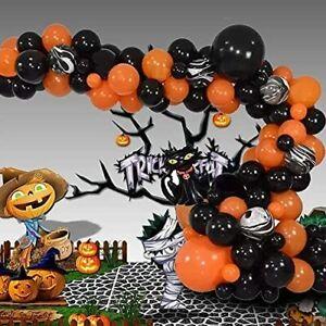 81Pcs Halloween Balloons Decor Black And Orange With Pumpkin Cat Balloon Kit