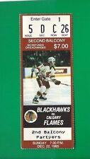 DECEMBER 22, 1985 CHICAGO BLACKHAWKS --CALGARY FLAMES TICKET STUB 5-4 OT FLAMES