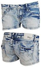 Minishorts Damen Shorts Hot Pants Jeans Hose Hüfthose Kurz Sommer Freizeit blau