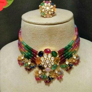 Indian Bollywood Kundan Choker Sets Wedding Fashion Jewelry Necklace Gold Plated