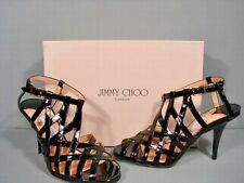Jimmy Choo Black Patent Leather Owen Caged Cut Outs Sandals Heels 37.5/7.5/7 New