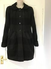 Next Tulip Style Checked Coat Jacket Size 12 Wool Blend Fitted