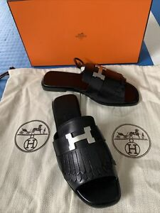 """New In Box Hermes Auteuil sandal Black Goatskin plated signature """"H"""" Size 35"""