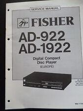 Original Service Manual Fisher Digital Compact Disc Player AD-922 AD-1922
