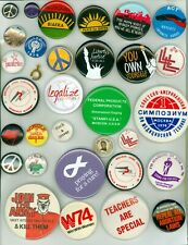 32 Vtg 1960s-2020 Anti-War/Protest/ Peace Political Cause Pinback Buttons Biafra