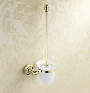 Bathroom Accessories Gold Brass Toilet Brush Holder with Scrub Glass Cup 2ba136