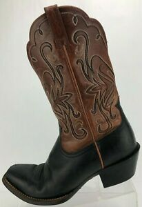 Ariat Cowboy Boots Western Comfy Brown Black Exotic Vintage Shoes Womens US 9 B