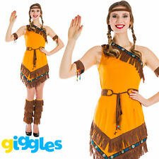 Red Indian Woman Squaw Costume Pocahontas Womens Native American Fancy Dress New