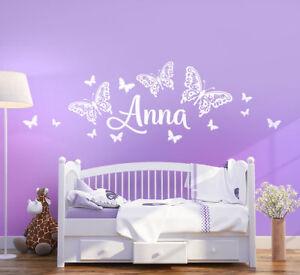 Wandtattoo Wunschname Schmetterlinge Name Kindername Tatto Kinderzimmer wk02a