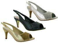 New Peep Toe Back Sling New Fashion Stone Women Formal Sandal UK Sizes 3-8