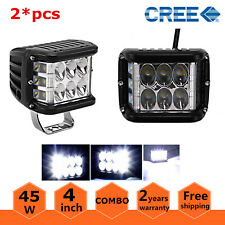 2X 4inch 45W Side Shooter CREE LED Work Light Pod Combo Beam Driving Lamp /90W