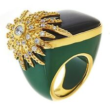 Cristina Sabatini Gold Plated Sterling Silver and Resin Ring Size 7 Black/Green