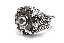 Men's Custom Silver Fleur De Li Shield King Castle Ring With Rubies
