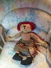 "Primitive Folk Art Country Raggedy Ann 17"" Rag Doll with cat"