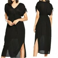 River Island Ruched Sleeve Boho Maxi Dress in Black UK 10 US 6 EUR 36 (rst108)