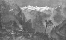 AUSTRIA. Charcoal-burning, Tyrolese Alps, antique print, 1858