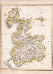 GB Original 1787 Coloured Map of Lancashire Engraved by J Cary