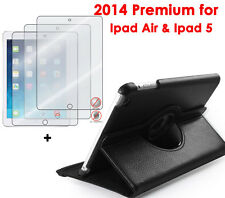 360° Black Rotating NEW iPad AIR SMART Leather Case+3pcs Matte Screen Protector