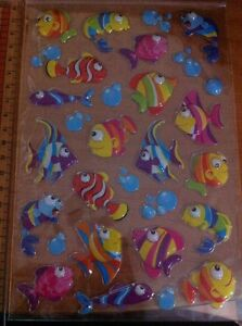 20 Fish & 10 Bubble Mix Sticker - Reward Sticker Education Sea Ocean Animal