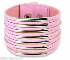 Mens or Womens Pink Leather and Steel Cuff Bracelet