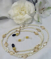 Mother of Pearl Eyeglass Chain 14k gold filled GF Lanyard w/removeable ends