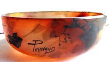 RARE Vase, petite coupe pâte de verre peinte de feuilles de vigne signée Peynaud