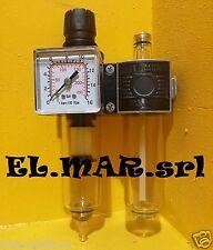 """Riduttore Pressione 1/4"""" F Lubrificatore Filtro + manometro compressore aria"""