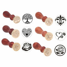 Vintage Wooden Handle Pattern Seal Wax Stamp Kits Wedding Invitation Card Gifts