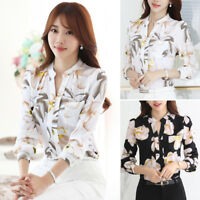 Women Plus Size Floral Casual Shirt Office Lady Long Sleeve Chiffon Blouse Tops
