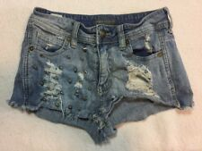 Kendall & Kylie 0 Shorts Denim Distressed Jean Studded Spikes 80s 90s Acid Wash